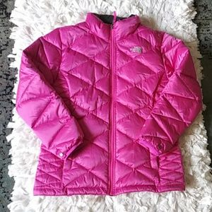 The North Face pink goose down pink winter coat
